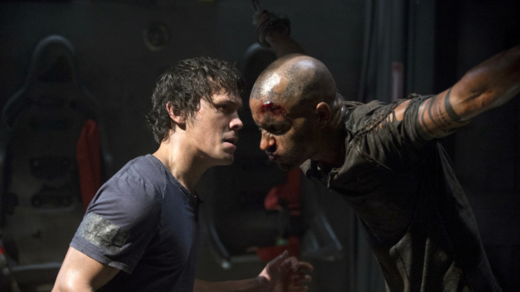 "Bellamy in a later episode of THE 100, with a ""Grounder"" (tied)"